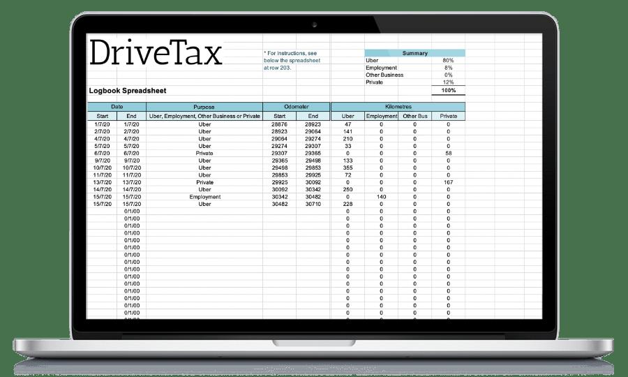 DriveTax Free Uber Spreadsheet